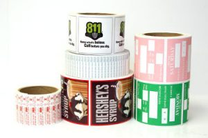 Rolls of custom-printed Square corner Rectangle Labels and Stickers