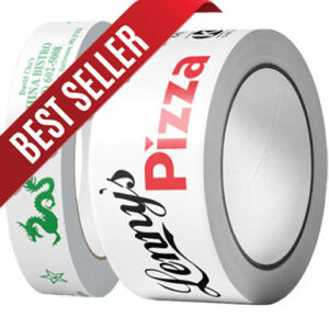 "A 1"" and 2"" roll of custom-printed premium PVC tape"