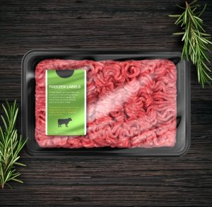 Freezer label affixed to package of frozen beef