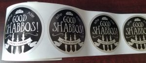 """3"""" round good Shabbos stickers"""