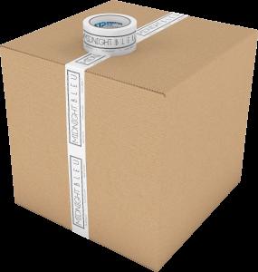 White printed polypropylene packing tape